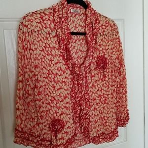 Cute red and tan blouse